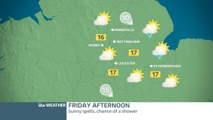East Midland's weather map for Friday
