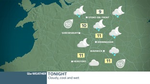 West Midland's weather map for Friday night