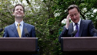 Prime Minister David Cameron and Deputy Prime Minister Nick Clegg hold their first joint press conference in the Downing Street garden in 2010