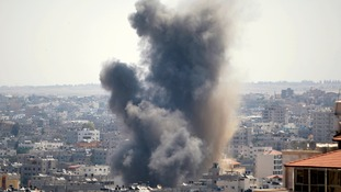 Smoke rises in Gaza as the unrest continues.
