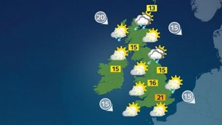 Sunny spells and showers are expected across the UK,.