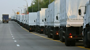 The Russian aid convoy has been stuck at the Ukrainian border for nearly a week.