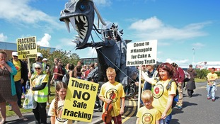 Anti-fracking protestors gather in Blackpool