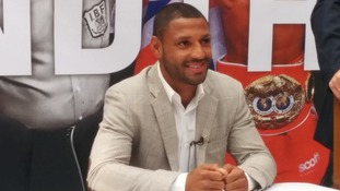 Kell Brook shows off IBF title belt in Sheffield