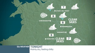 West Midlands weather map for Friday night