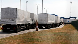The aid convoy had been held at the Ukrainian border for nearly a week.
