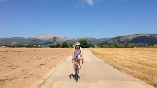 Jo training on her bike