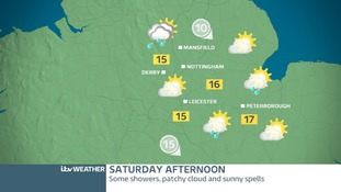 East Midland's weather map for Saturday