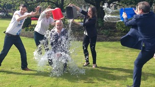 Alistair Darling takes part in the ice bucket challenge.