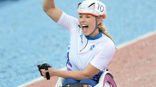 Samantha Kinghorn celebrates at Hampden Park during the 2014 Commonwealth Games in Glasgow.
