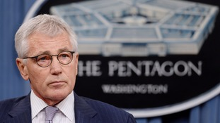US Defence Secretary Chuck Hagel speaking at a press conference yesterday.
