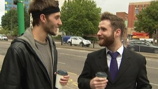 Tom Harper brings Luke a drink while he's out on the hunt for a job