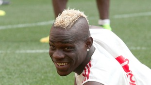 Mario Balotelli in training for AC Milan ahead of his move to Liverpool.