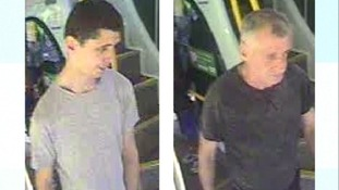 Bus CCTV shows the wanted men.