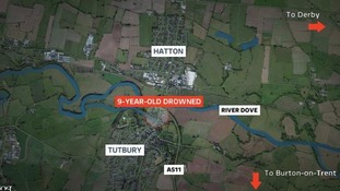 Nine-year-old drowned: location map