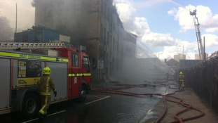 Firefighters at scene of massive mill fire in Bradford