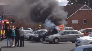 The car burst into flames just before midday