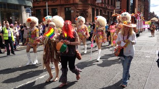 Colourful costumes in the Pride parade.