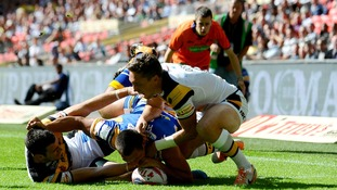 Leeds Rhinos' Ryan Hall (centre) scores his sides third try of the game during the Tetley's Challenge Cup Final