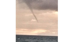 Huge waterspout spotted over River Mersey on an offshore windfarm