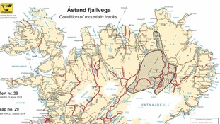 Map of Iceland showing area where traffic and hiking has been banned