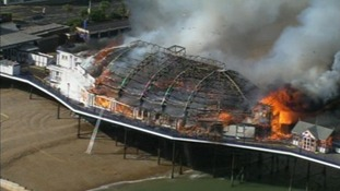 Eastbourne Pier in flames