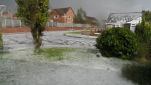 A covering of hail at Belton, Norfolk