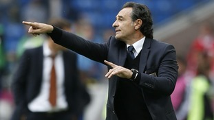 Italy coach Cesare Prandelli gives instructions during the Group C match in Poznan.