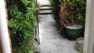 A covering of hail at Belton, Norfolk.