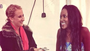 Lulu James chatting to Rachel Sweeney