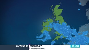 Rain threatens the southern half of the UK on Monday, drier further north