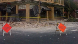 Damage is shown to a downtown building in Napa, California