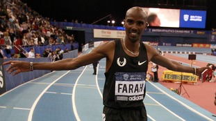 Farah celebrating at the Birmingham Grand Prix at the National Indoor Arena.