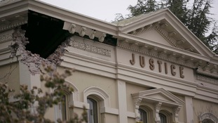 Damage to the Napa County Superior Court building is seen after an earthquake in Napa, California
