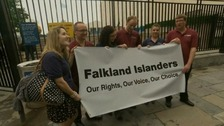 A group of Falkland Islanders outside the United Nations building in New York.
