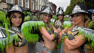 Participants get ready for the start of the Notting Hill Carnival.