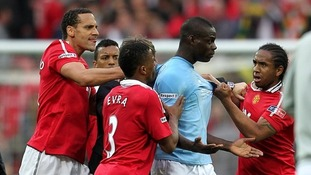 Manchester United's Rio Ferdinand, Patrice Evra, Nani and Anderson attempt to get their points across.