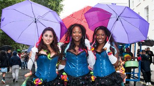 Dancers still smiling  despite the weather