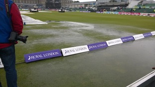 Wet pitch at Gloucestershire County Cricket club