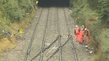 Workers on the Swindon to Kemble line before it re-opened