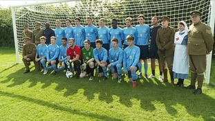 Under-21s from Newark Town FC recreated the famous 'Christmas truce' football match in Ypres