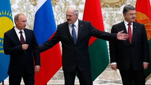 Russian President Vladimir Putin, Belarus' Alexander Lukashenko and Ukraine's President Petro Poroshenko.