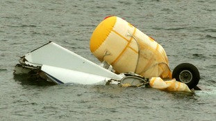 The wreckage of the Super Puma L2 helicopter which went down in the North Sea on 23rd August 2014