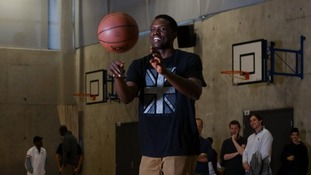 NBA All Star and former Croydon resident basketball player Luol Deng launching the Luol Deng Academy in Brixton today