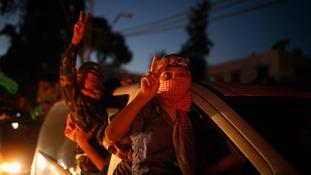 Palestinian children celebrate.