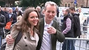 Talk show host Frank Skinner arrives at the Kate Bush concert.