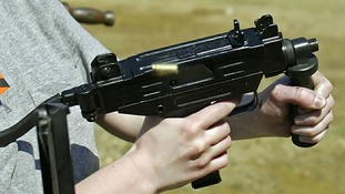 An Uzi 9mm submachine gun.