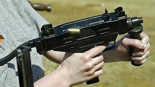 An Uzi 9mm submachine gun.