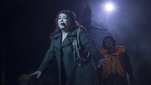 Kate Bush photographed on her live comeback at London's Hammersmith Apollo.