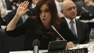 Argentine President Cristina Fernandez de Kirchner is pressing her country's claim to the Falkland Islands